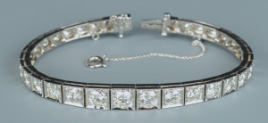 Lot 50: 14k Diamond Line Bracelet