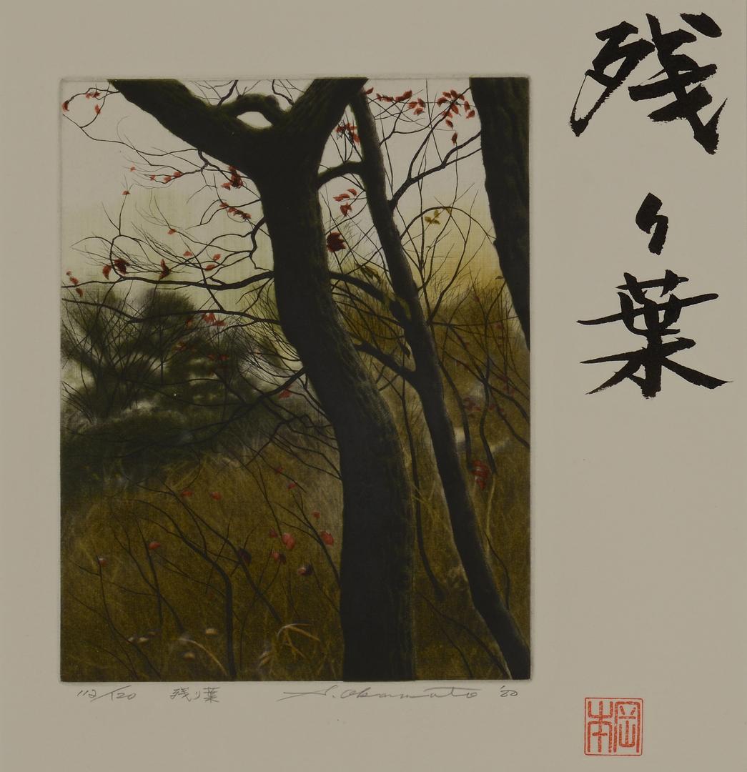 Lot 513: Shogo Okamoto Colored Etchings & Woodblock, 4 item
