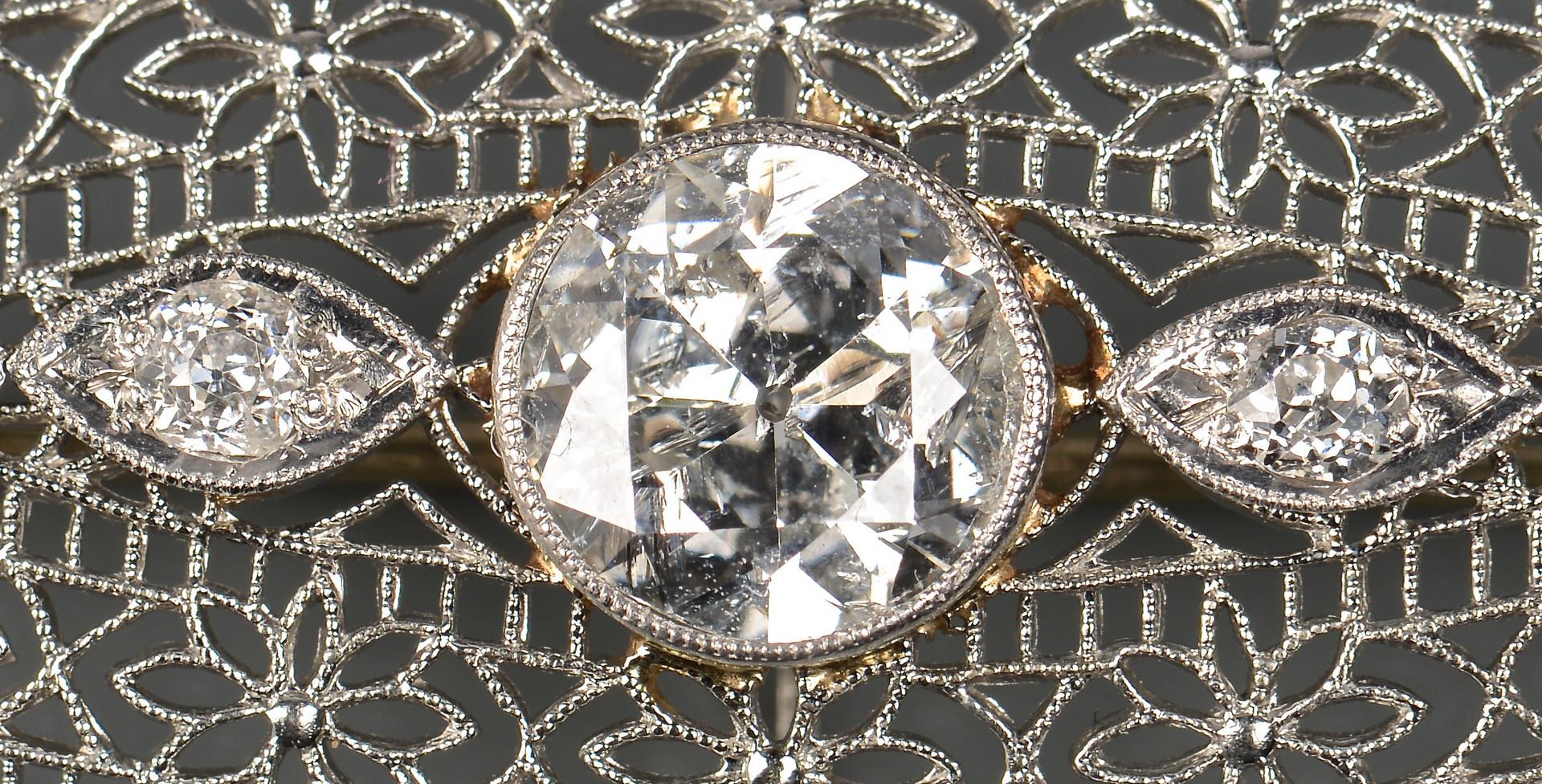 Lot 51: 2 Vintage 14K Diamond Pins