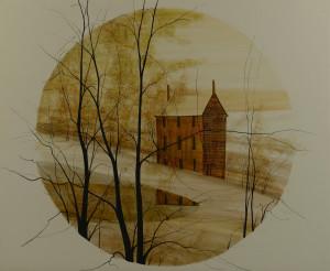 Lot 531: P. Buckley Moss Watercolor Landscape