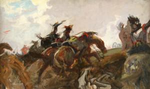 Lot 533: Charles Hoffbauer o/c, Waterloo Scene