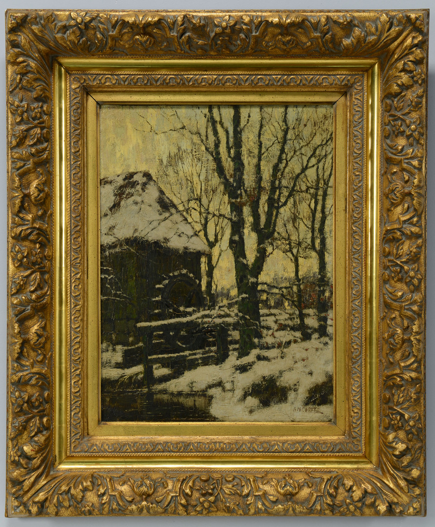 Lot 534: 19th c. Winter Landscape with mill, o/c