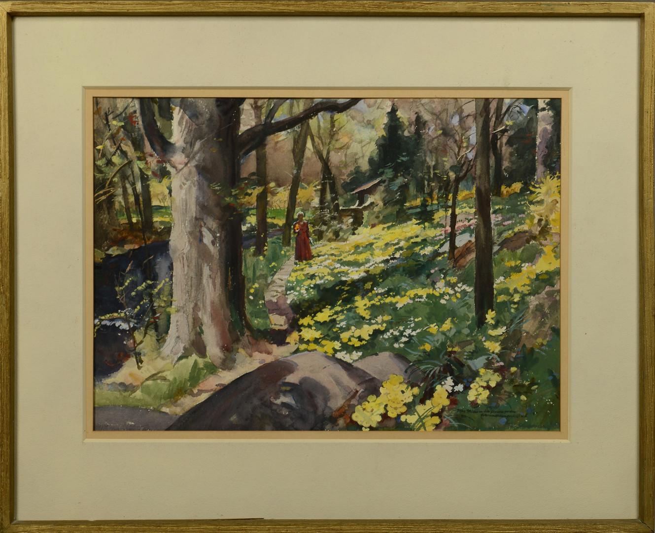 Lot 538: Warren Baumgartner watercolor landscape