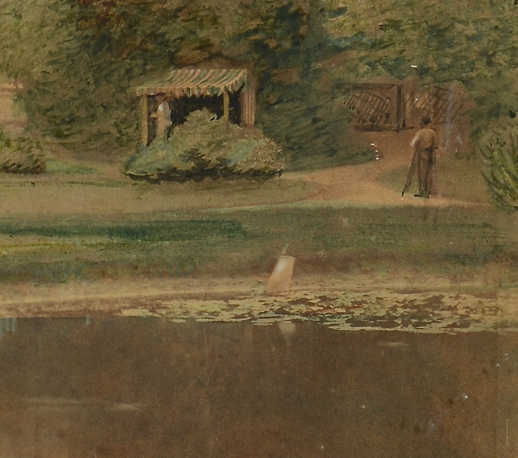 Lot 539: Watercolor Mansion Scene