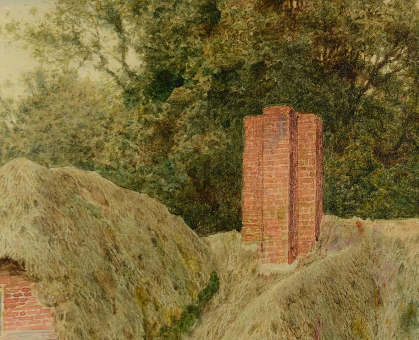 Lot 540: A. C. Strachan Watercolor, figures in garden