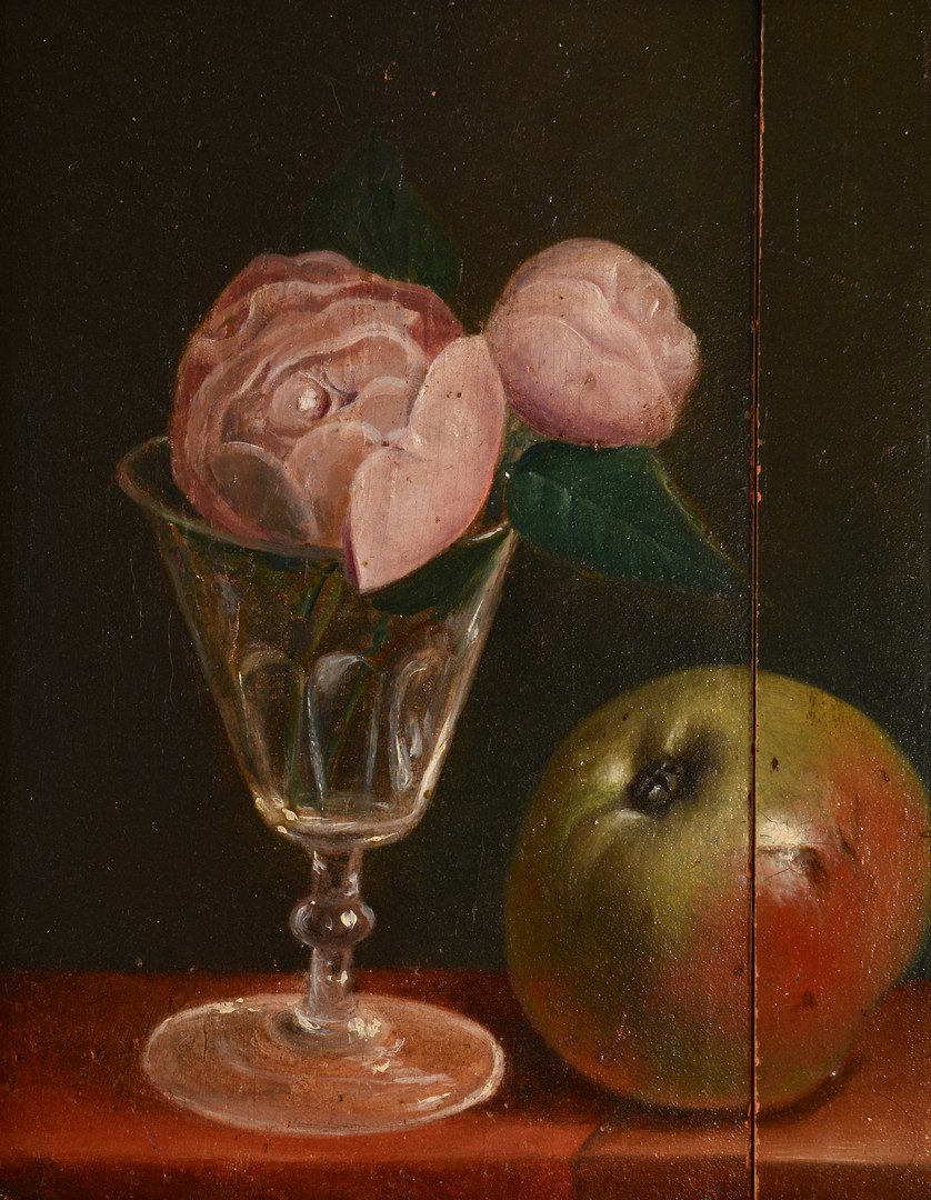 Lot 541: John Francis o/c Still Life with apple and peonie