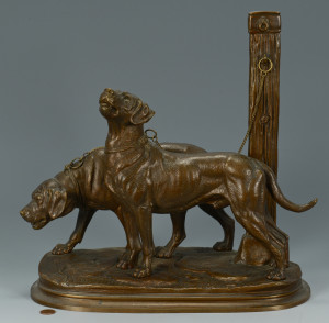 Lot 548: P. Delabrierre Bronze, Chained Dogs