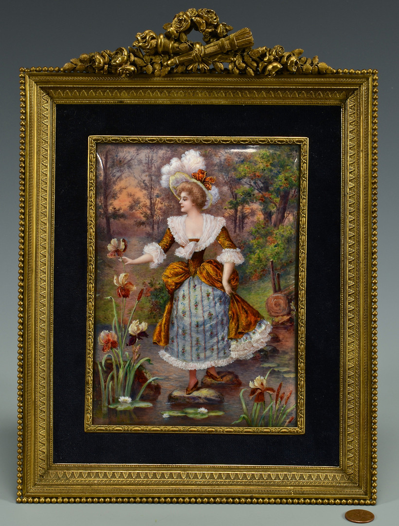 Lot 54: Limoges enamel on copper plaque, signed