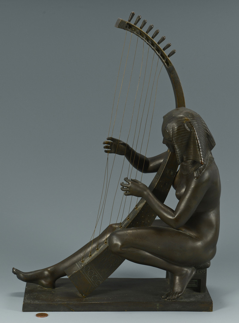 Lot 553: Bronze Nude w/ Egyptian Harp