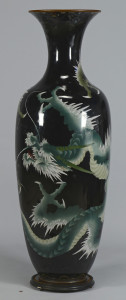 Lot 554: Large Asian Cloisonne Floor Vase w/ Green Dragon