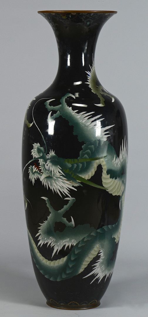 Lot 554 Large Asian Cloisonne Floor Vase W Green Dragon