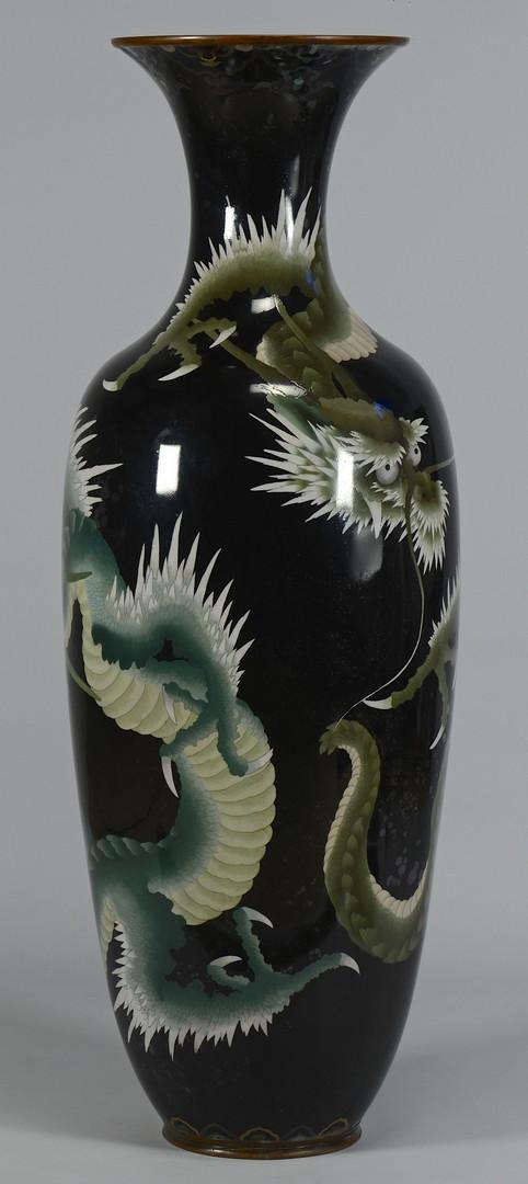 Lot 554: Large Asian Cloisonne Floor Vase w/ Green Dragon