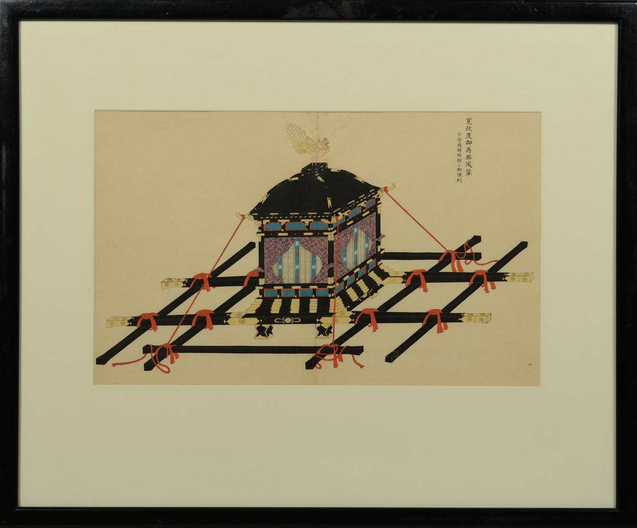 Lot 556: Japanese Gouache – Norimono or sedan chair