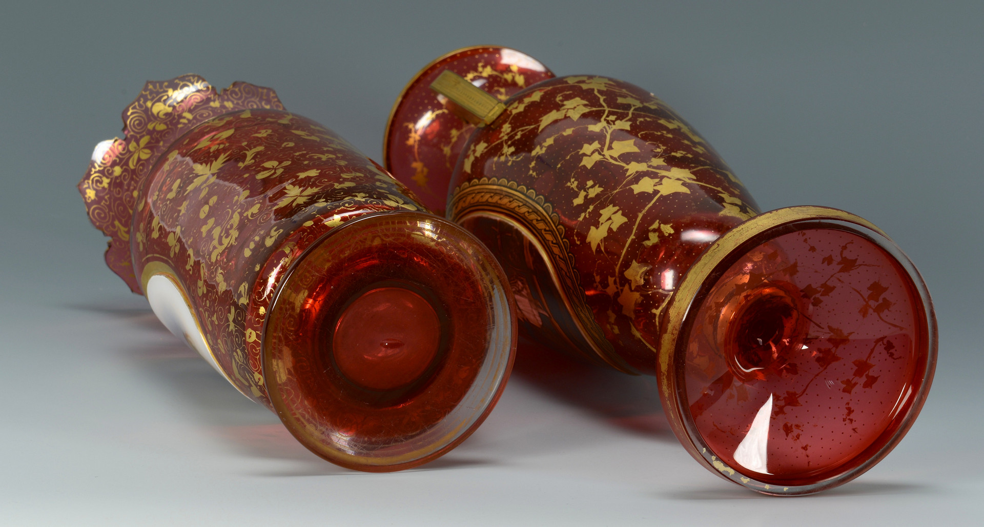 Lot 55: 2 Moser Cranberry Glass Vases