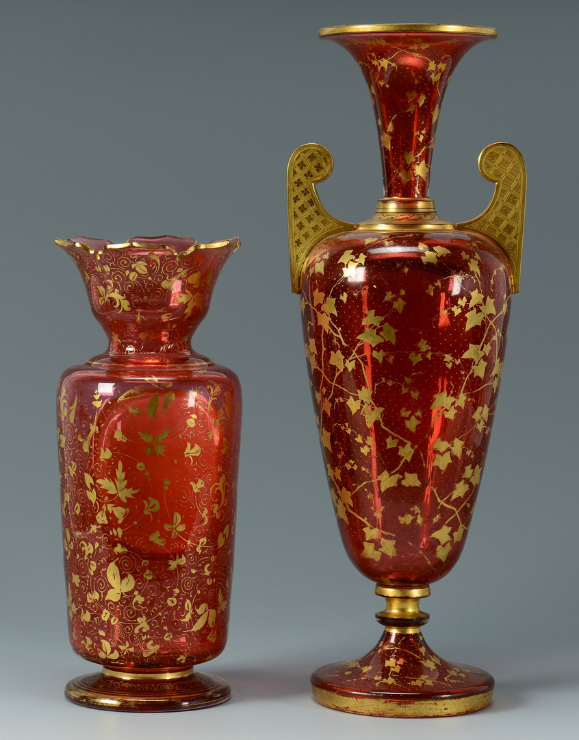 Lot 55: 2 Moser Cranberry Glass Vases