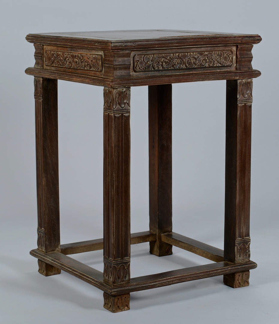 Lot 560: Chinese Carved Hardwood Side Table