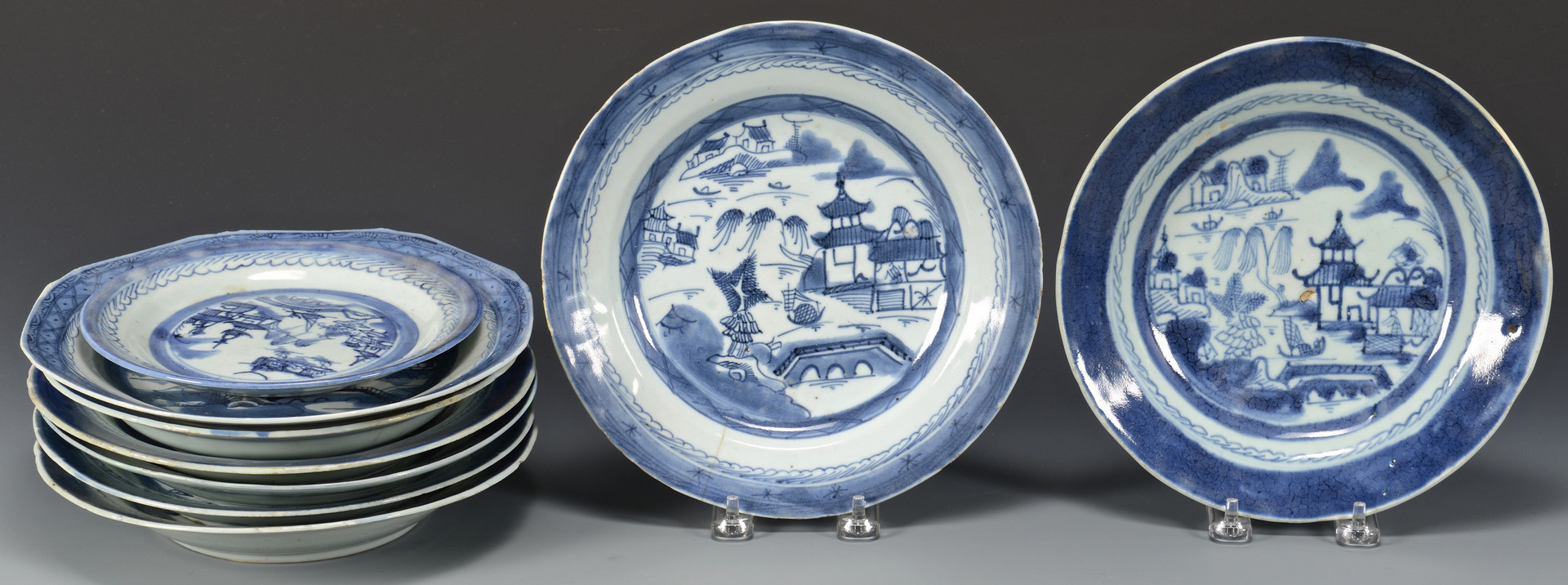 Lot 563: 52 Blue & White Canton Pieces