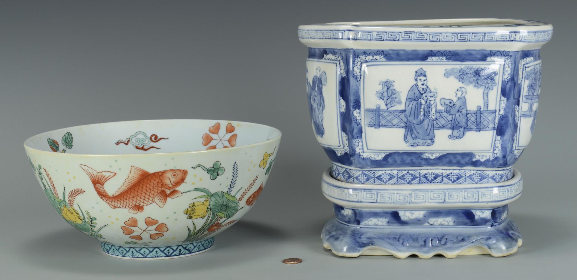 Lot 568: Chinese Fish Bowl; Jardiniere