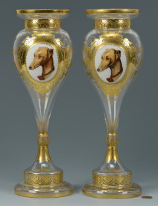 Lot 56: Bohemian Vases, Animal Vignettes
