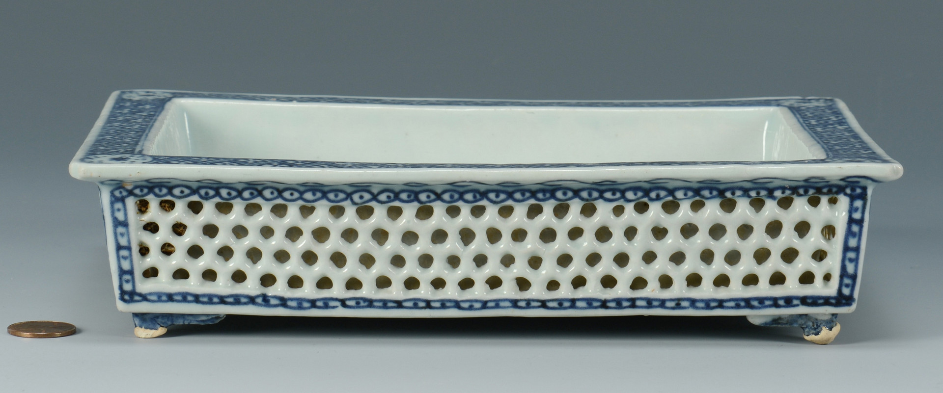 Lot 570: Chinese Porcelain Reticulated Bulb Dish & Scroll