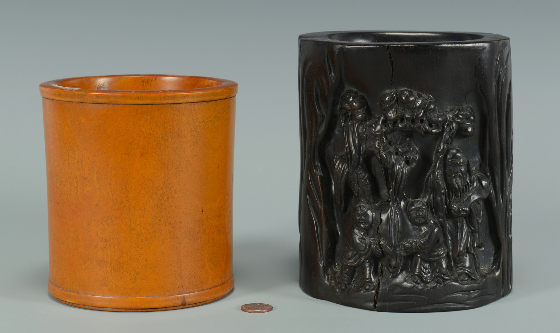 Lot 571: 2 Chinese Hardwood Brush Pots