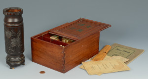 Lot 572: Mah Jong Game Set & Chinese Hardwood Brush Pot
