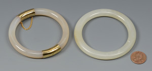 Lot 575: Pair White Jade Bangle Bracelets
