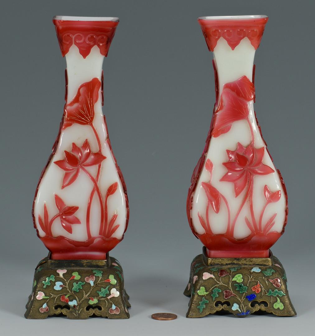 Lot 576: Pr. Peking Vases w/ Brass Stands