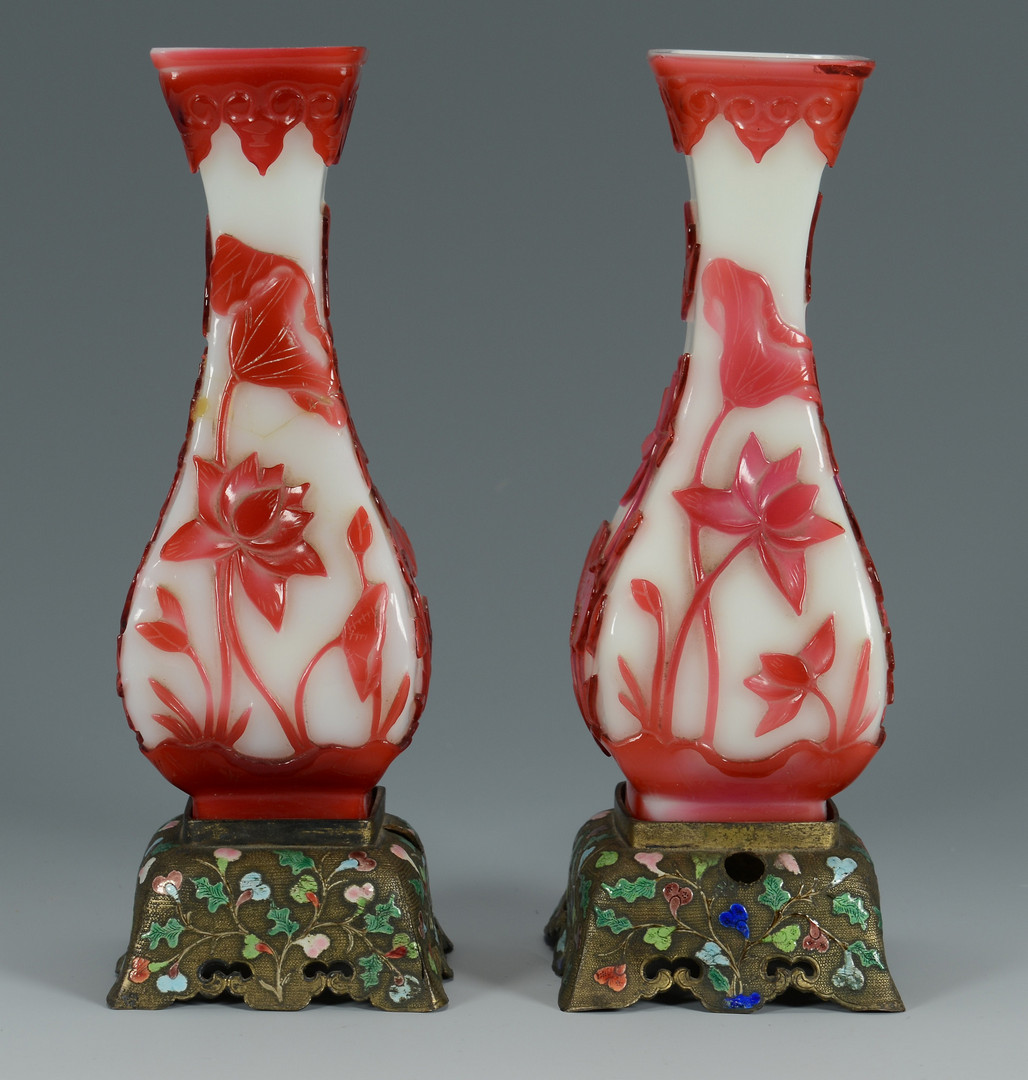 Lot 576: Pr. Peking Vases w/ Brass Stands
