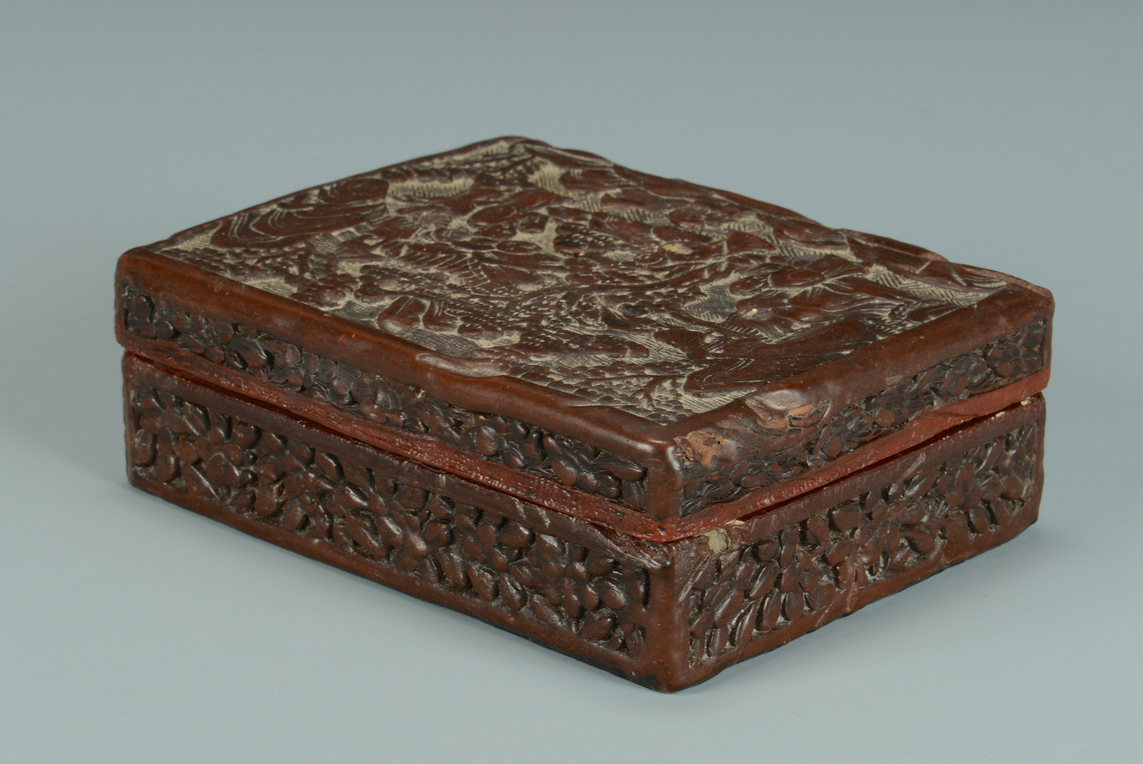 Lot 577: Carved Chinese Cinnabar Box