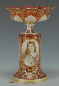 Lot 57: Bohemian Glass Portrait Compote