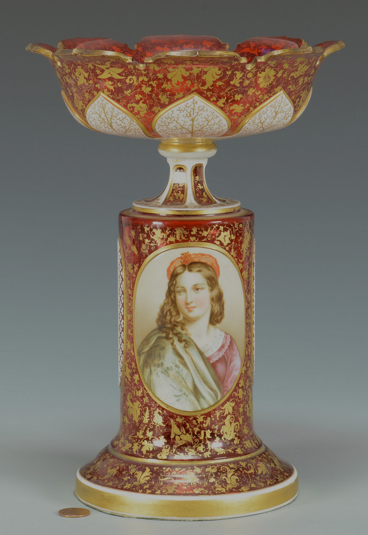Lot 57 Bohemian Glass Portrait Compote