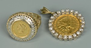 Lot 582: 2 Mounted Gold Coins w/ Diamond Surrounds