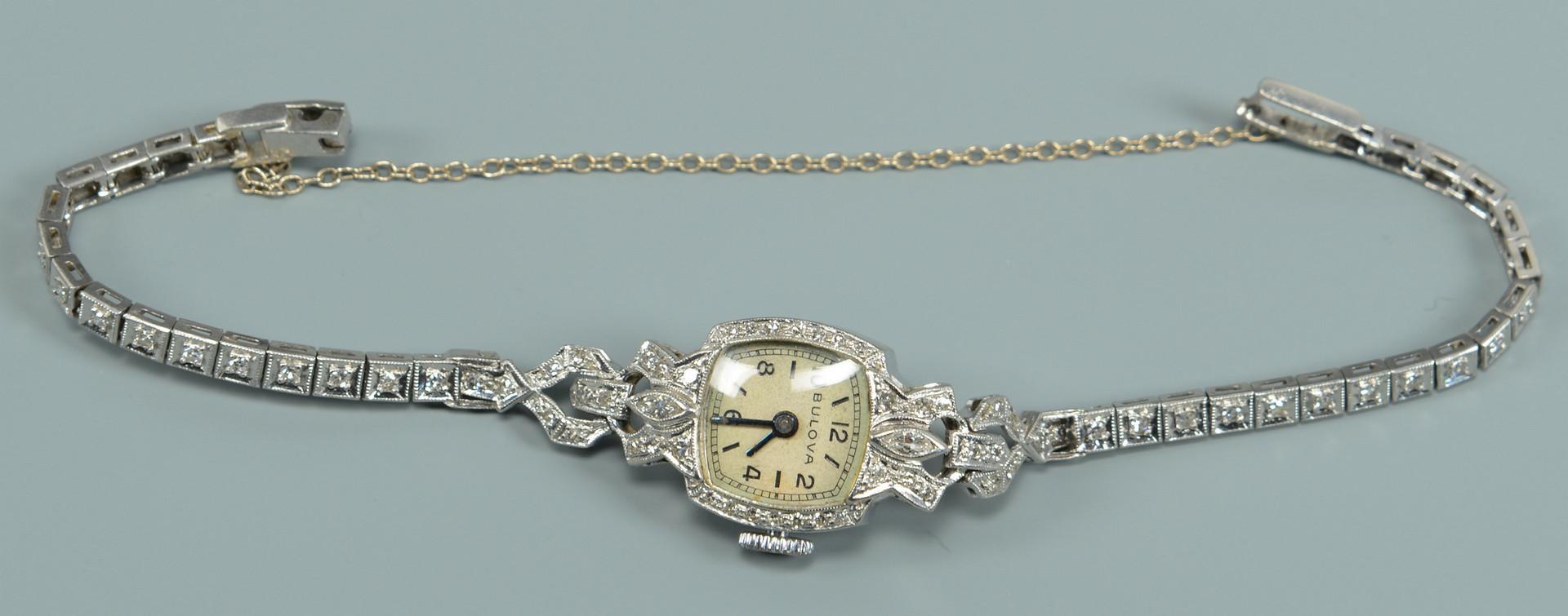 Lot 585: Bulova Diamond/Platinum Watch