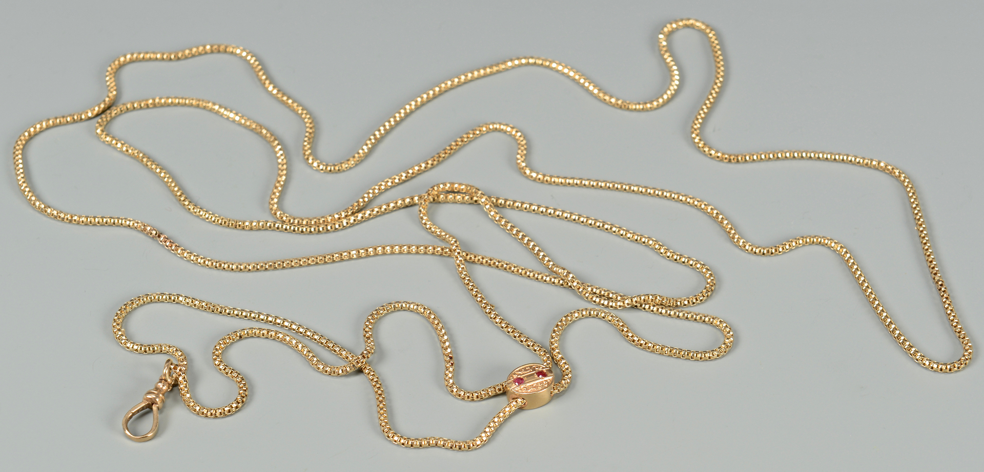 Lot 588: Gold Watch Chain with Slide
