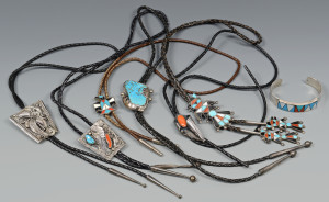 Lot 598: 6 Bolos and a Zuni Bracelet