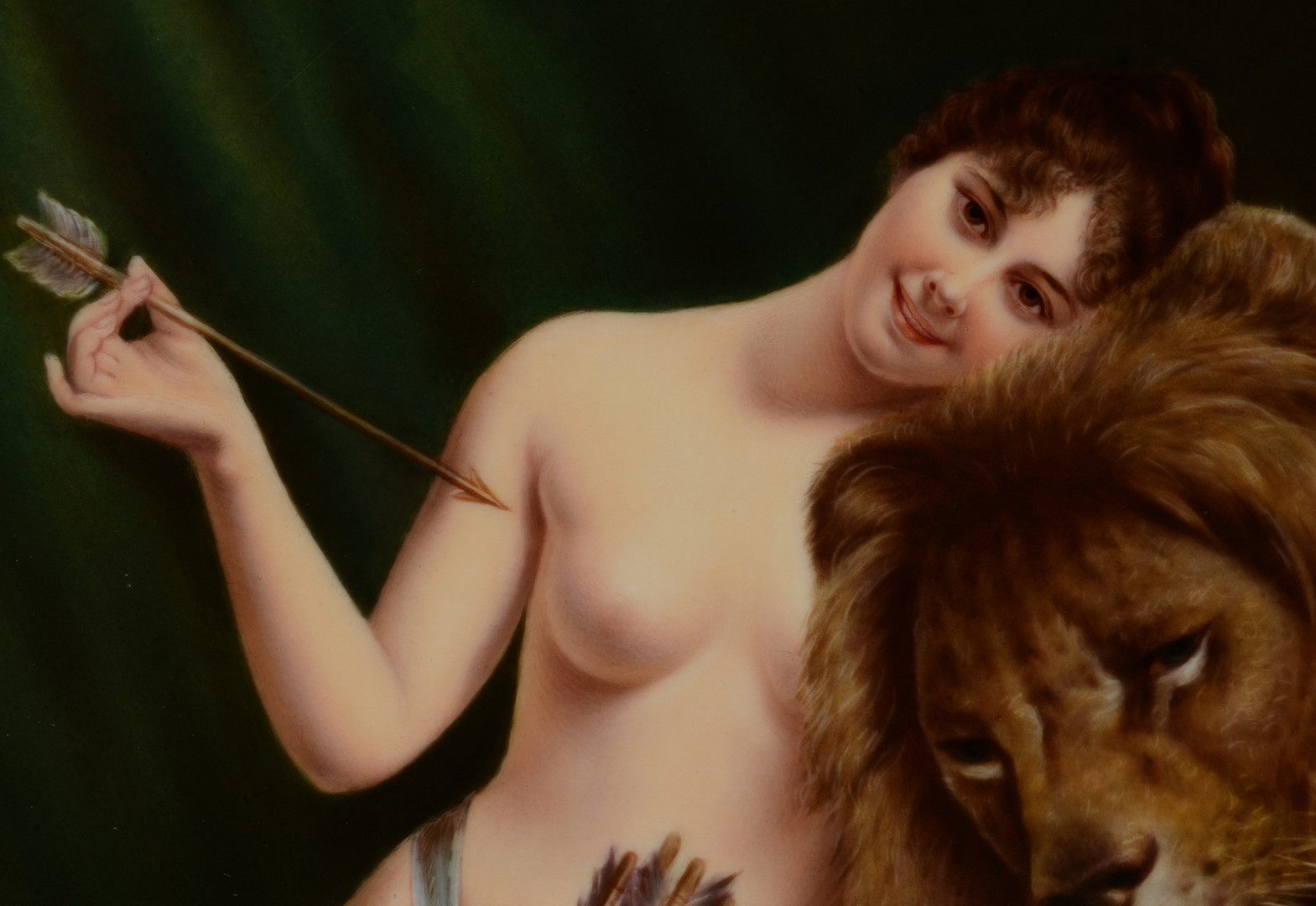 Lot 59: Porcelain Plaque, Woman w/ Lion