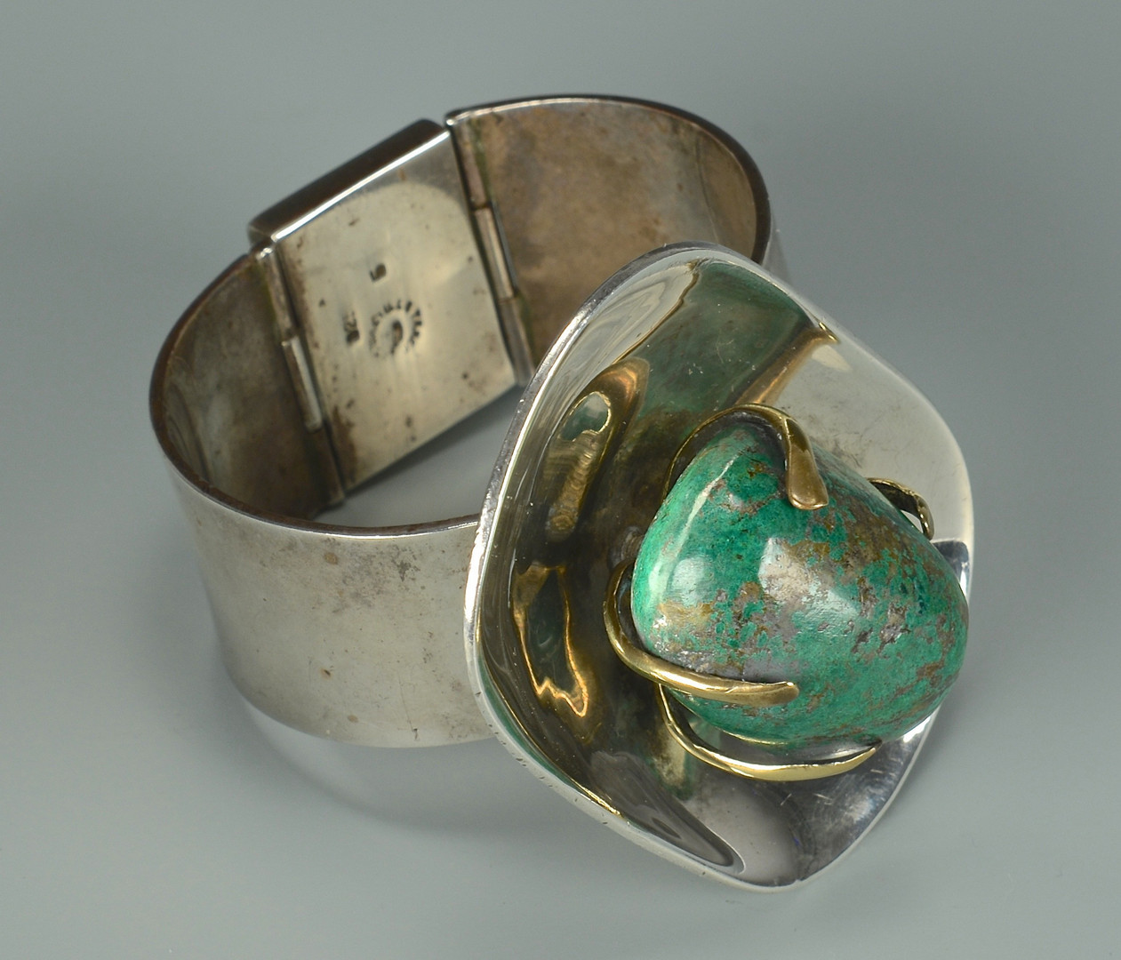 Lot 600: Los Castillo Sterling Bracelet w/ Turquoise Stone
