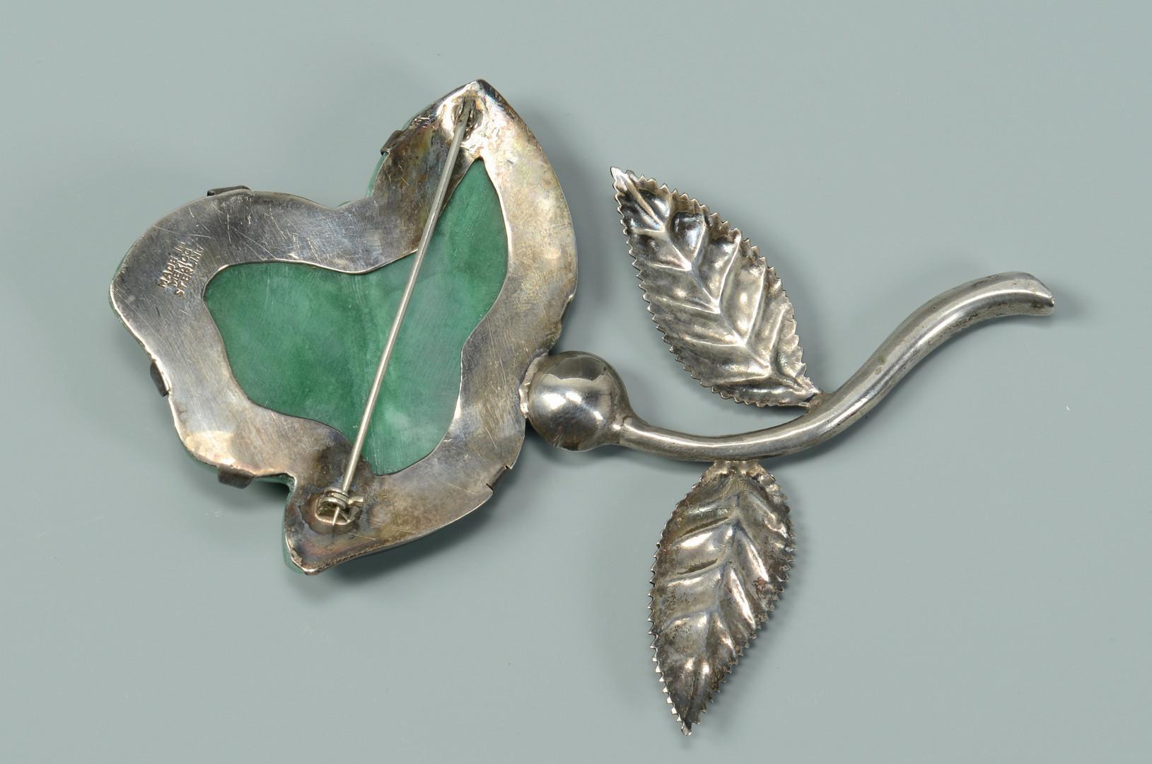 Lot 602: Mexican Jade & Silver Brooch
