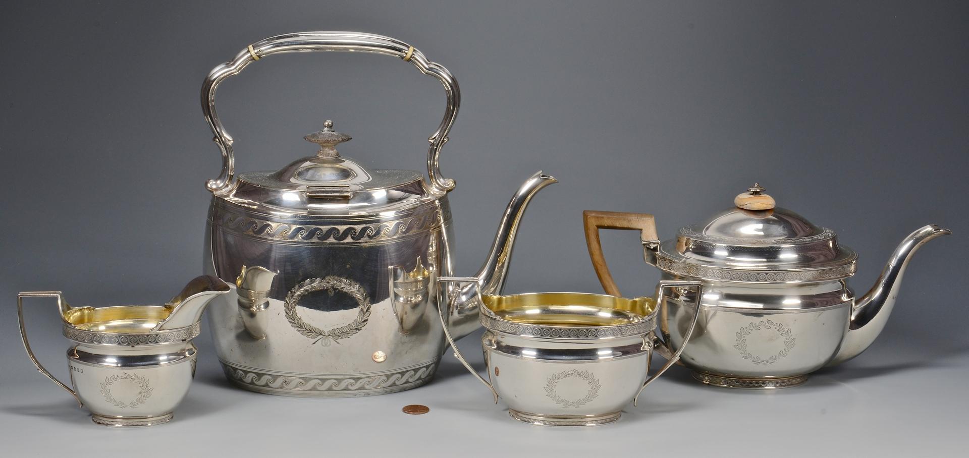 Lot 604: English Silver Tea Service, 4 pcs