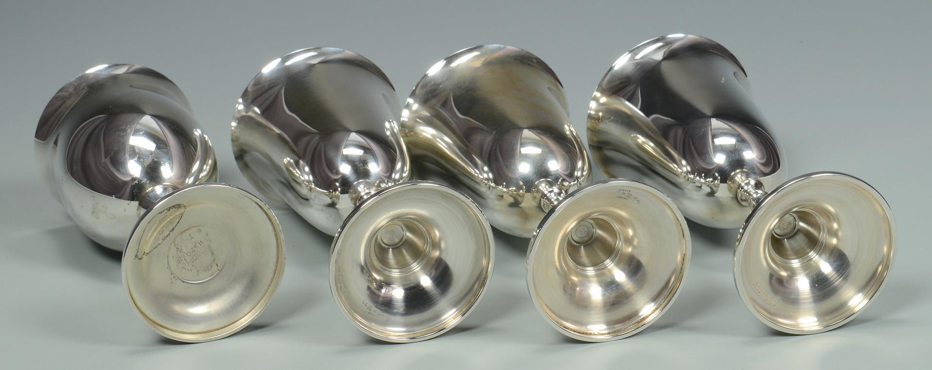 Lot 609: 4 Sterling Silver Goblets