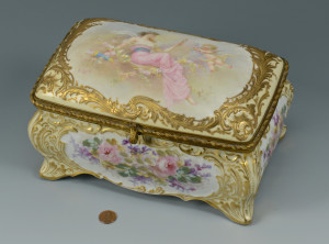 Lot 60: Sevres pattern casket, signed Callot