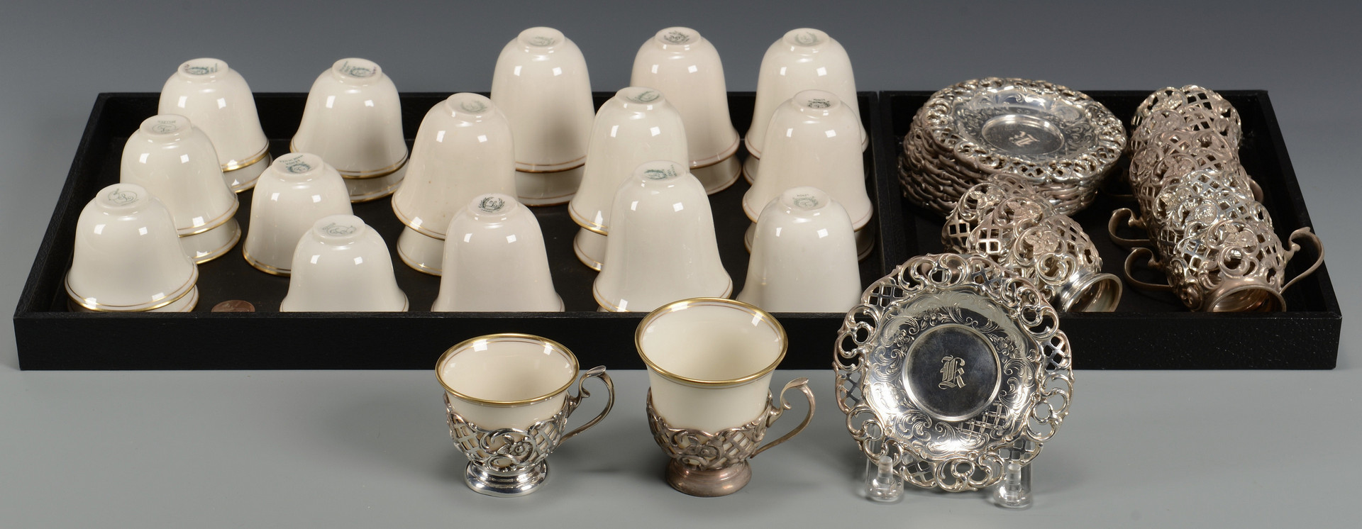 Lot 610: Sterling and Lenox Demitasse Set