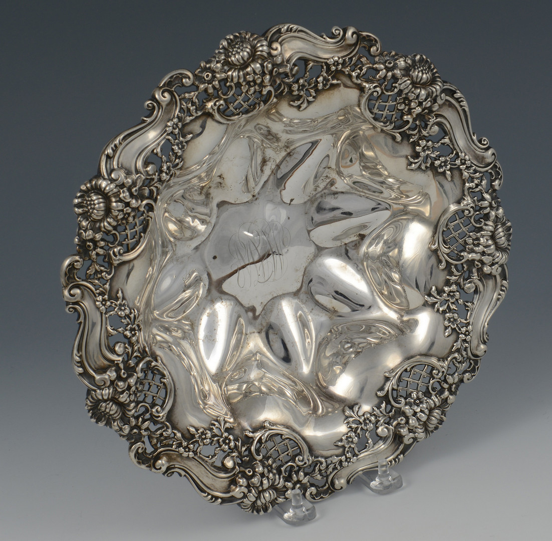 Lot 613: Sterling repousse bowl, Dominick & Haff