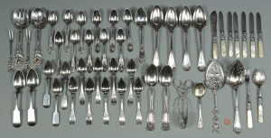 Lot 614: American & European Silver Flatware, 49 pcs.