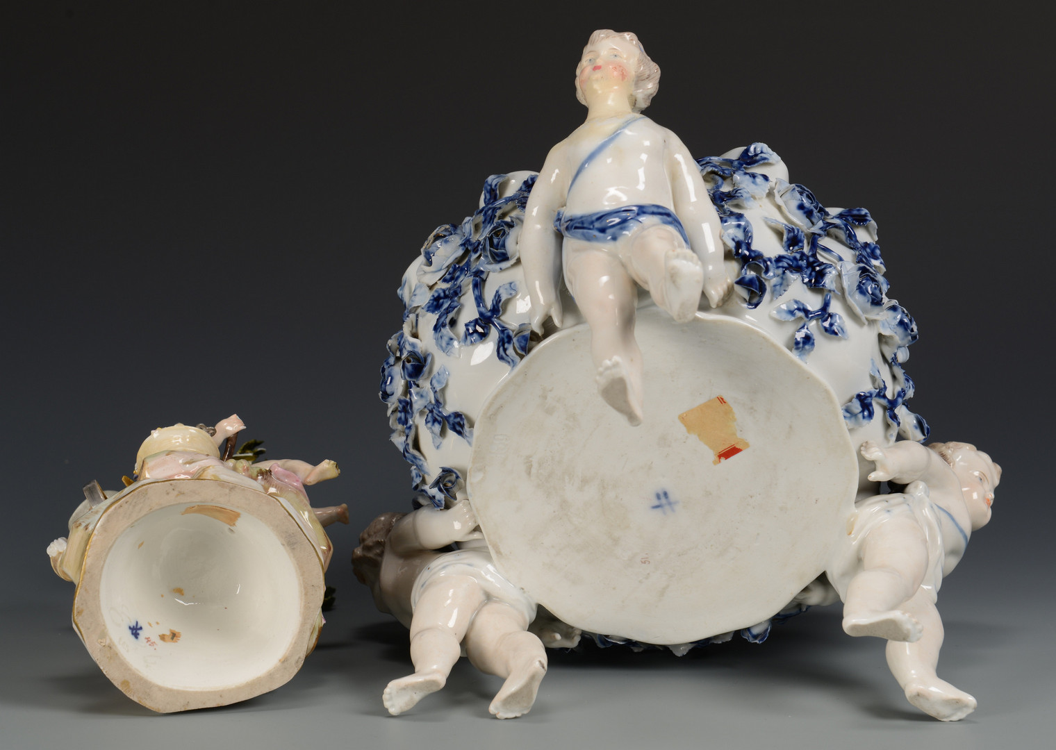 Lot 618: Meissen Cherub Figure & Cherub Bowl