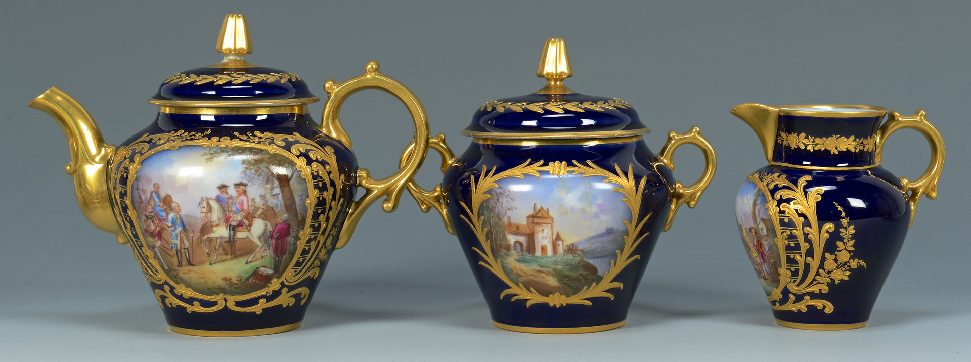Lot 61: French Bataille Tea Service w/Tray