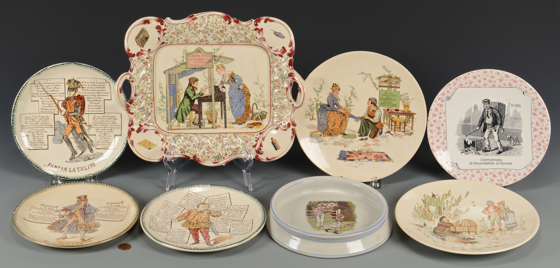 Lot 620: 8 Sarreguemines, Terre de Fer & Ridgway dishes