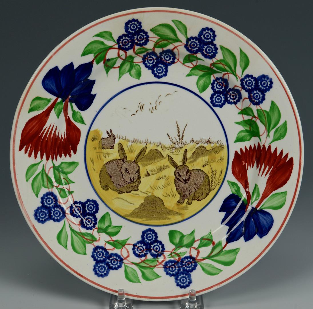 Lot 622: 2 Stick Spatter Rabbit Ware Plates