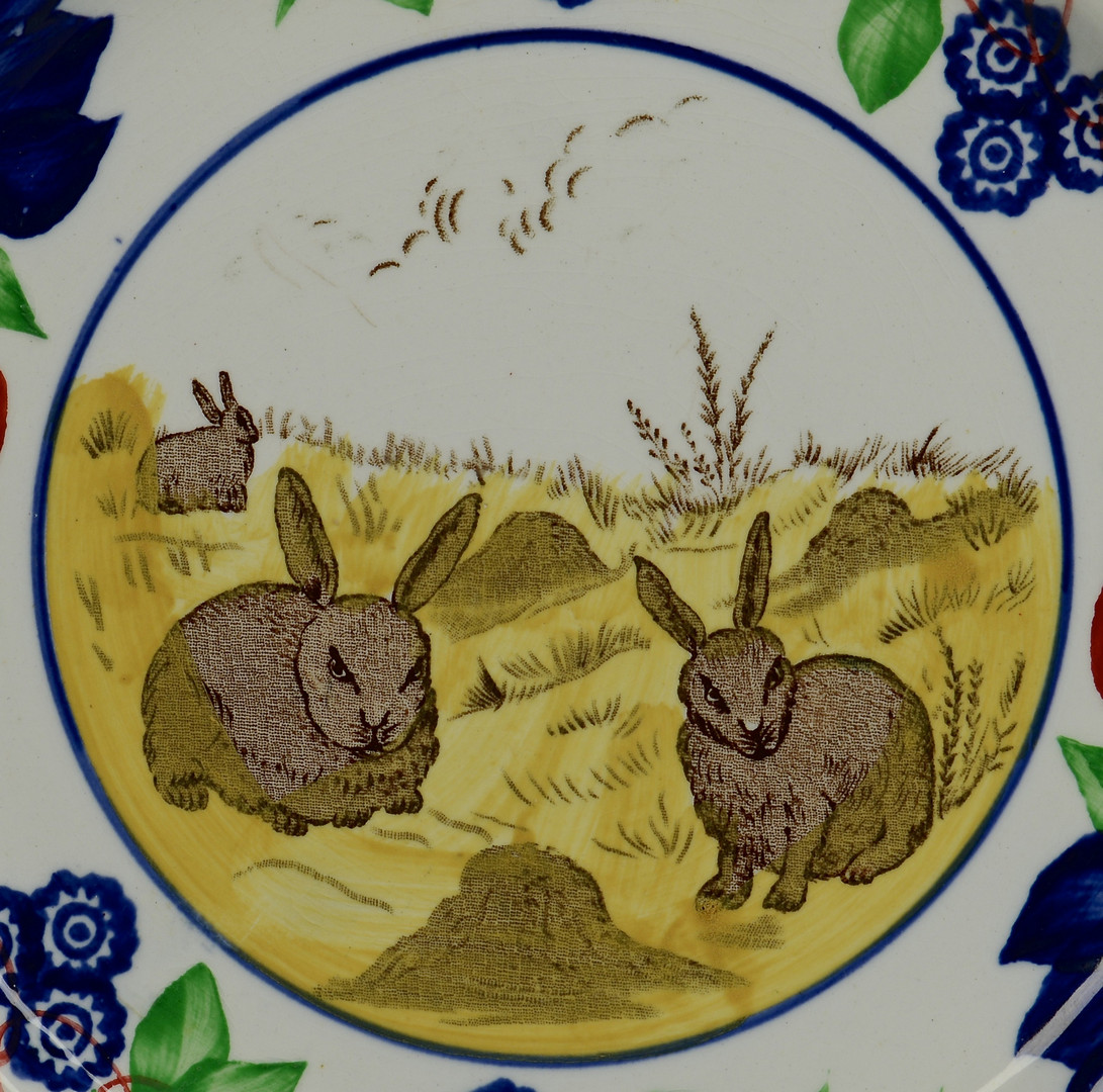 Lot 622: 2 Stick Spatter Rabbit Ware Plates